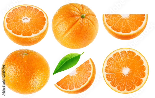 Leinwanddruck Bild Isolated oranges collection. Whole orange fruits and cut into pieces isolated on white background with clipping path