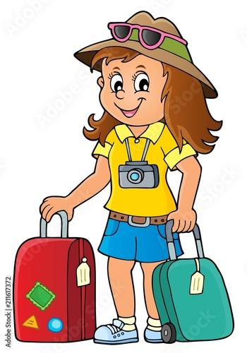 Fotobehang Voor kinderen Tourist woman theme image 1