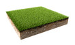 Green Grass Land Piece Isolated on White Background.