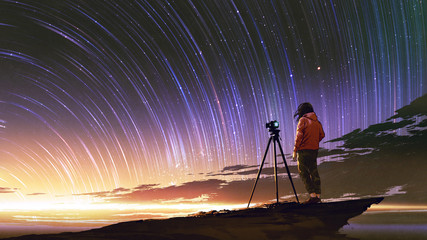 young photographer taking picture of sunrise sky with star trails, digital art style, illustration painting © grandfailure