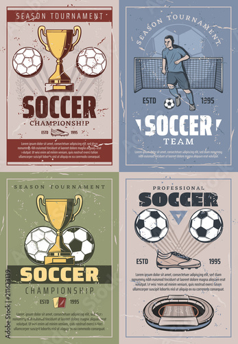 Soccer vintage and retro posters - 211623139