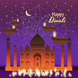 Beautiful greeting card for holiday diwali with burning hanging diy, background Taj Mahal, night, cartoon style, vector, illustration