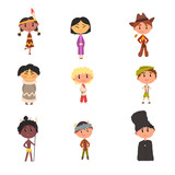 Kids in national clothes, boys and girls cartoon characters in traditional costume of American Indian, Japanese, American Cowboy, Eskimo, Russian, Australian Aboriginal, German vector Illustration - 211626914