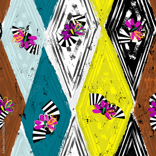 Aluminium Abstract met Penseelstreken seamless geometric pattern background, retro/vintage style, with rhombus, stripes, flowers, strokes and splashes, black and white