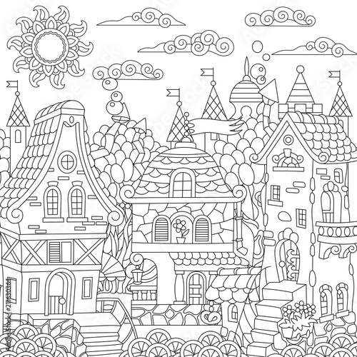 Fairy tale town. Fairytale city. Fantasy downtown with vintage houses. Coloring page. Colouring picture. Coloring book. Freehand sketch drawing. Vector illustration.