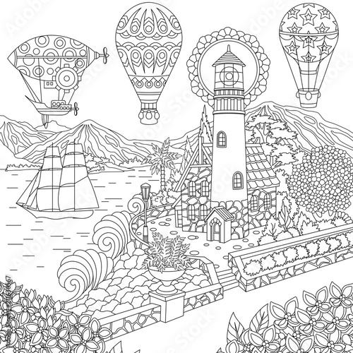 Lighthouse. Sailing ship. Dirigible. Hot air balloons. Coloring page. Colouring picture. Coloring book. Freehand sketch drawing. Vector illustration.