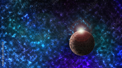 Space scene background with a planet in the frame and nebula in the back