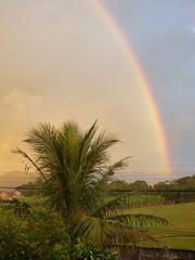 Rainbow over Ingleses do Rio Vermelho neighborhood in Florianopolis, Brazil © Helissa