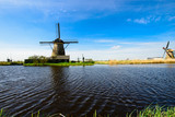 Colorful beautiful summer scene in the famous Kinderdijk canals