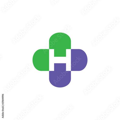 H Letter Cross Medical Logo - 211644916