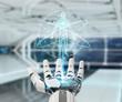 White robot hand scanning human body 3D rendering