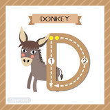 Letter D uppercase cute children colorful zoo and animals ABC alphabet tracing flashcard of Donkey for kids learning English vocabulary and handwriting vector illustration.