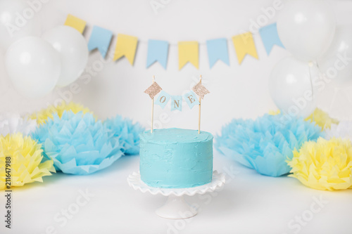 Baby Boy Blue First Birthday Cake With One Banner