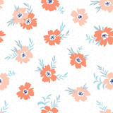 Trendy seamless floral ditsy pattern. Fabric design with simple flowers on the light polka dot background. Vector bedding pattern. - 211654901