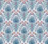 Vector seamless pattern with tropical flowers and palm leaves. Tropical ornamental background for bright fabric design. - 211654957