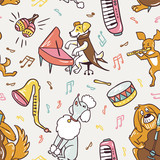 Seamless pattern. Freehand drawing cute musical dogs. Vector illustration. Funny baby fabric design. - 211654991