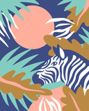 Scandinavian style background with palm leaves and zebra. Cute tropical card. Vector illustration. - 211655134