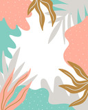 Scandinavian style background with abstract textured spots, leaves and place for  text. Cute natural frame. Vector illustration. - 211655155