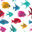 Whimsical Seamless Pattern with Colorful Sea Fishes - 211657955