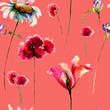 Seamless pattern with original watercolor flowers