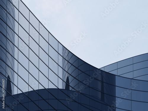 3D stymulować budynku krzywej wysoki wzrost krzywej i systemu okien ciemnej stali na niebieskim tle jasnego nieba, koncepcji biznesowej przyszłej architektury, lookup do rogu budynku corner.3 renderowania