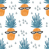 Cute seamless pattern with pineapple. Tropical pattern in scandinavian style. For children and kids. For textile,fabric, wrapping or poster. Vector hand drawn illustration. - 211664985