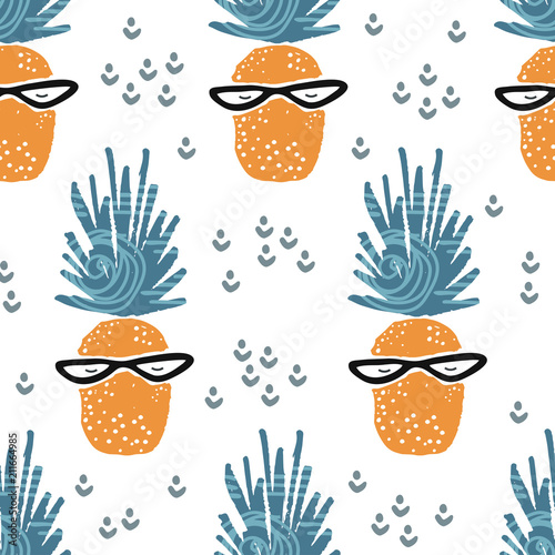 obraz lub plakat Cute seamless pattern with pineapple. Tropical pattern in scandinavian style. For children and kids. For textile,fabric, wrapping or poster. Vector hand drawn illustration.