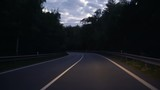View From The Car: Driving Along The Road At Twilight hours in Europe - 211665379