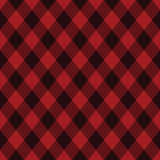 Diagonal black and red tartan vector seamless pattern background - 211666747