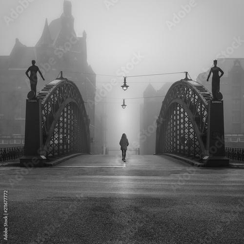 Historyczny most przy głęboką mgłą