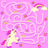 Help unicorn find path to rainbow. Labyrinth. Maze game for kids - 211677941