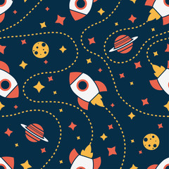 Seamless pattern with rocket, saturn, moon and star. Space background © alka5051