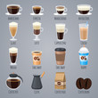 Espresso, latte, cappuccino in glasses and mugs. Coffee types for coffee house menu. Flat vector icons set - 211681902