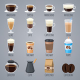 Fototapety Espresso, latte, cappuccino in glasses and mugs. Coffee types for coffee house menu. Flat vector icons set