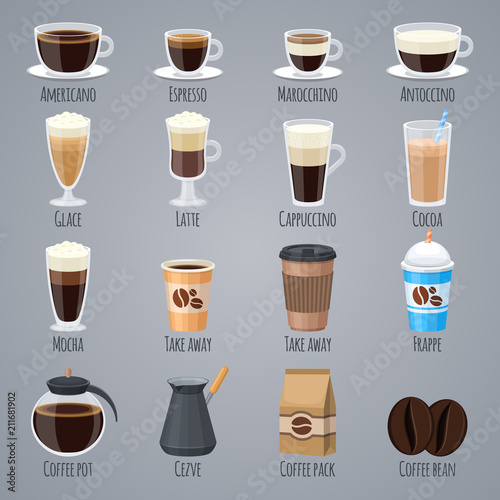 Espresso, latte, cappuccino in glasses and mugs. Coffee types for coffee house menu. Flat vector icons set