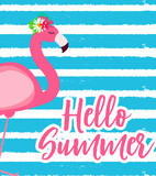 Cute Pink Flamingo Summer Background Vector Illustration - 211687506