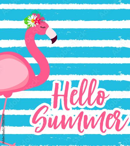 Śliczna Różowa flaminga lata tła wektoru ilustracja