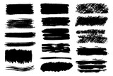 Vector set of hand drawn brush strokes and stains. One color monochrome artistic hand drawn backgrounds. - 211704750