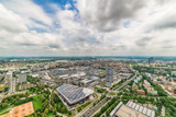 Munich, Germany June 09, 2018: Aerial view of Munich with BMW buildings from Olympic communication tower.