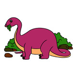 Diplodocus cartoon illustration isolated on white background for children color book © Huy