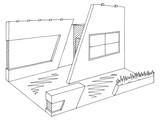 Exhibition stand graphic interior black white sketch illustration vector - 211719522