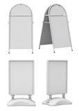 Clay render set of empty blank advertising street signs isolated on white background