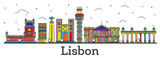 Outline Lisbon Portugal City Skyline with Color Buildings Isolated on White. - 211723751