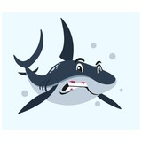 angry blue shark in the sea mascot cartoon character