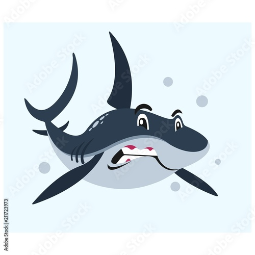 Sticker angry blue shark in the sea mascot cartoon character