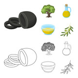 An olive tree, a branch with olives, a vessel and a jug of oil. Olives set collection icons in cartoon,outline style vector symbol stock illustration web. - 211728759