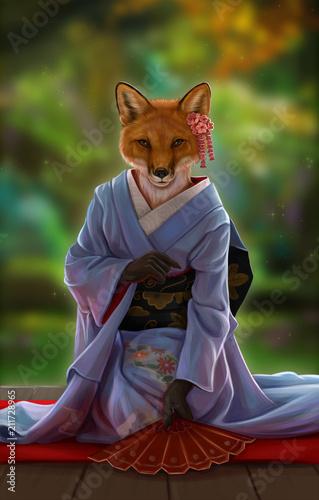 Лиса в кимоно - 211728965