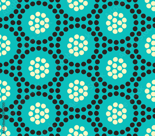 floral circles of dots seamless pattern in ivory black and blue