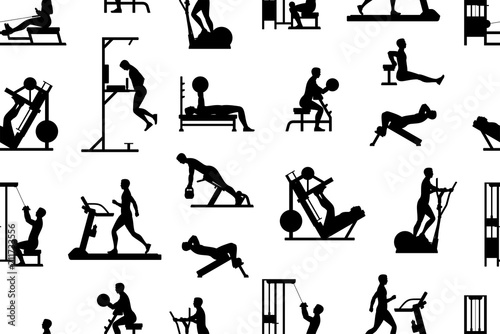 Seamless pattern with men doing exercises, Monochrome style. isolated on white background