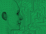 Abstract Human Head With Circuit Board